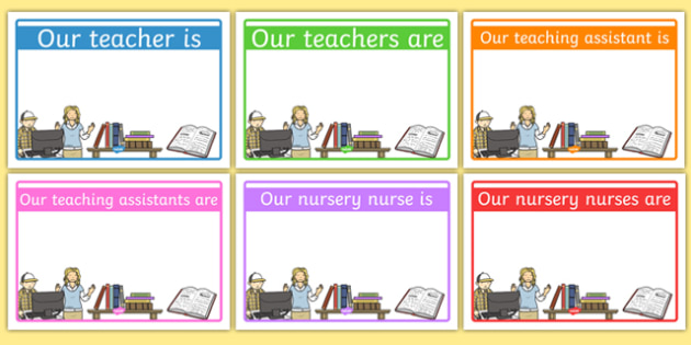 Editable Classroom Teacher/TA/NN Signs (Design 1) - Classroom - editable signs