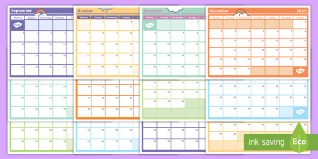 NEW * 2019 Monthly Calendar Planning Template - Monthly Calendar - calendar template