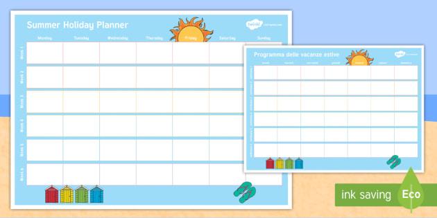 NEW * Summer Holiday Display Calendar English/Italian - Summer