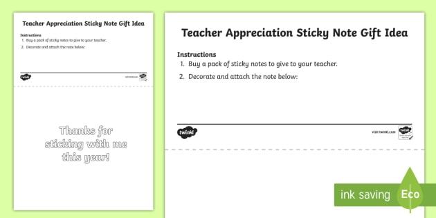 Teacher Appreciation Sticky Note Gift Tag Template - Teacher