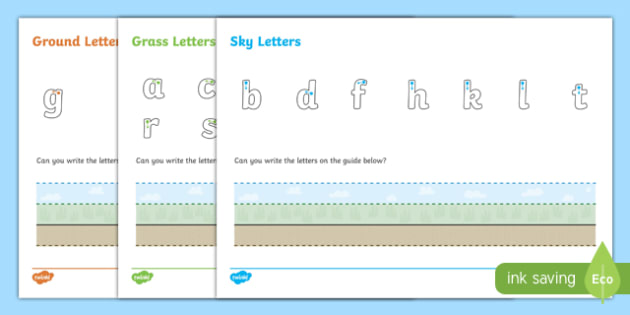 Ground, Grass and Sky Letter Writing Worksheet / Activity Sheet
