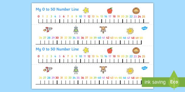 FREE! - 0-50 Number Line - number line, number, line, 0-50, 50, 0, lines