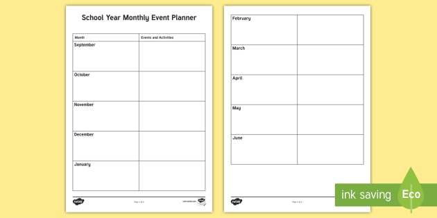 School Yearly Monthly Events Planning Template - overview, annual, 2017