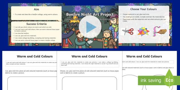 KS1 Bonfire Night Art Lesson 2 Warm/Cold Colours and Bonfire