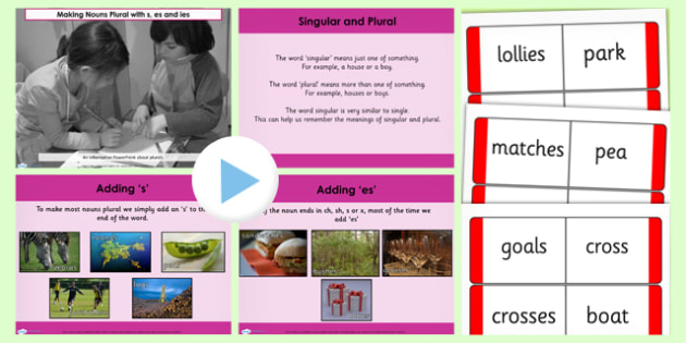 Making Nouns Plural with s es and ies Lesson Teaching PowerPoint - esl powerpoint lesson