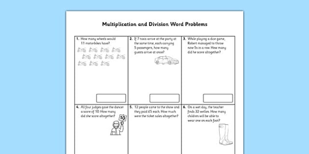 Year 2 Multiplication and Division Word Problems x2, x5, x10 - multiplication and division worksheet