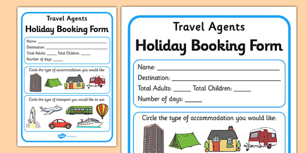 Travel Agents Booking Form - Travel agent, holiday, travel, role - travel agent form