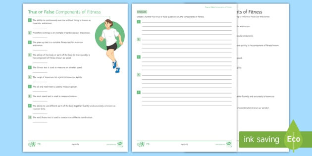 NEW * GCSE PE Components of Fitness True or False Activity