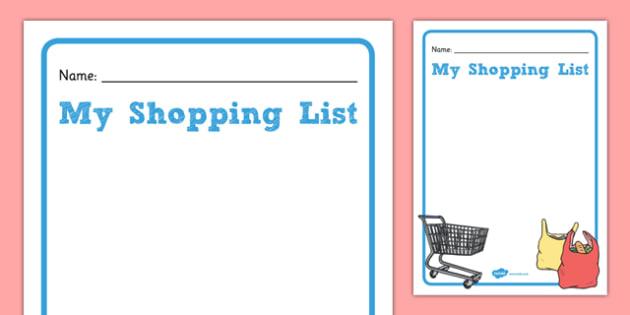 Shopping List Template - gaeilge, shopping list, template