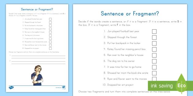 Sentence or Fragment? Worksheet / Worksheet - Sentence, Fragment