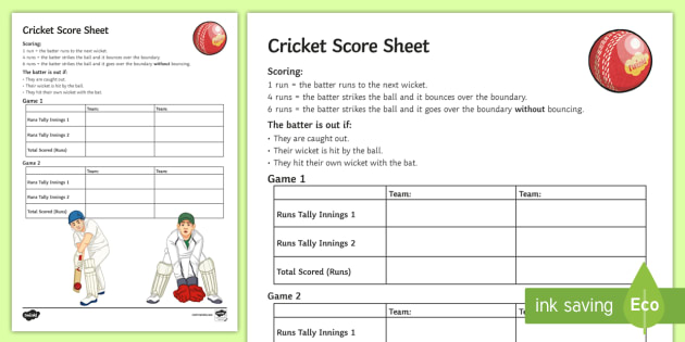 Old Fashioned Cricket Score Sheet Ideas - Best Resume Examples by - sample cricket score sheet