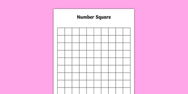 Blank 10 by 10 Number Square - blank, 10 by 10, number square, numbers