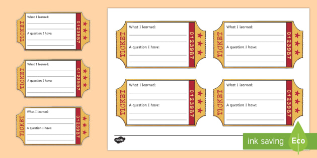 Exit Ticket Writing Template - Classroom Management and Organization