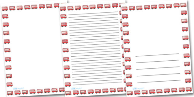 Red Bus Portrait Page Borders- Portrait Page Borders - Page - printable writing paper with border