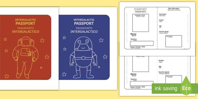 Space Passport Templates - English/Italian - Space Passport - passport template