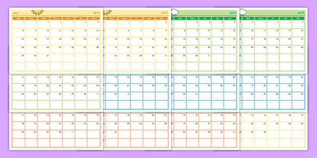 NEW * Academic Year Monthly Calendar Planning Template - monthly planning calendar