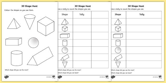 3D Shape Hunt Worksheet / Worksheet - 3d, shape, hunt, worksheet, sheet