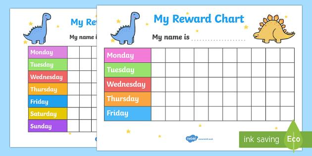 FREE! - My Reward Chart (Dinosaurs) - my reward chart, dinosaurs, chart