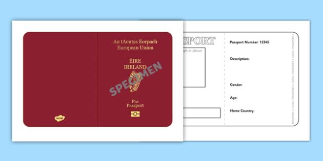 Irish Passport Template - Passport, Design, holiday, holidays - passport template