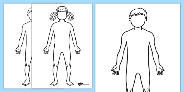 KS1 Body Template Outline Sheet - Primary Resources