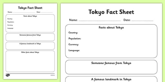 Tokyo Factsheet Writing Template - tokyo, tokyo fact sheet