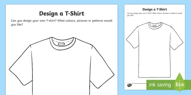 T Shirt Design Worksheet Activity Sheet Eyfs Early Years