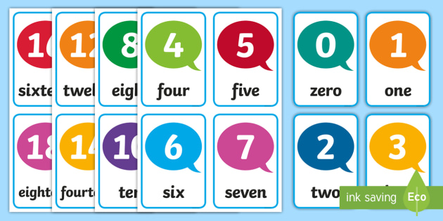 Number Flash Cards 1-20 - numbers, number cards, flashcards, cards