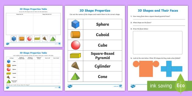 FREE! - Properties of 3D Shapes - KS1 Resource