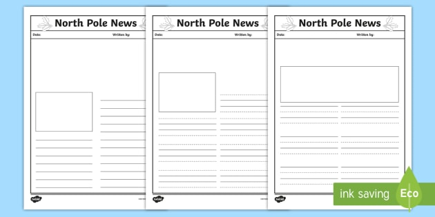 North Pole News Writing Template - KS1, EYFS, Letters, Newspaper