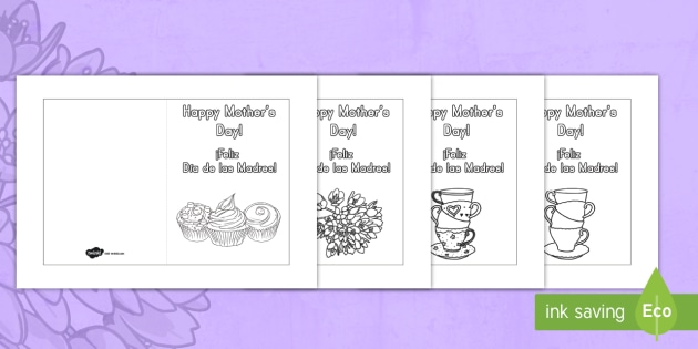Mother\u0027s Day Card Templates (Coloring) US English/Spanish