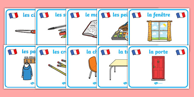 Classroom Objects Display Posters French Classroom
