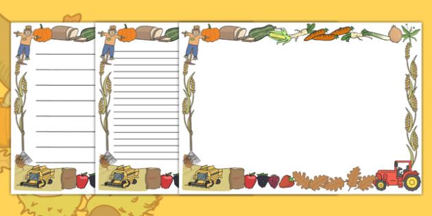 FREE! - Harvest Full Page Borders (Landscape) - page border, border