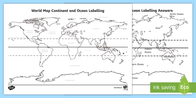 NEW * World Map Continent and Ocean Labelling Worksheet / Worksheet
