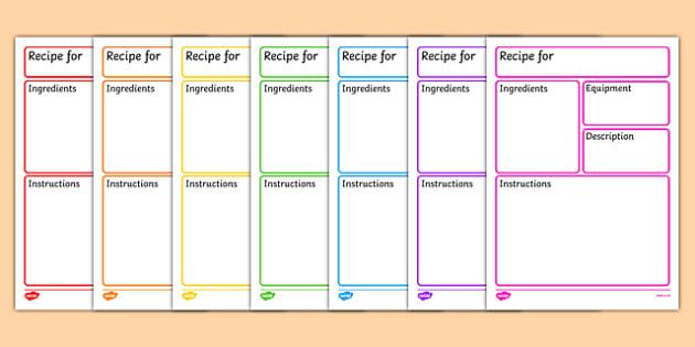 Editable Recipe Template - recipe, cooking, baking, recipe - blank writing sheet