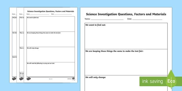 Science Investigation Writing Templates - scientific - scientific templates