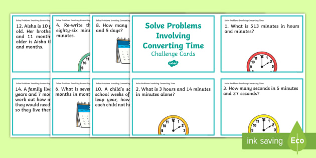 Solve Problems Involving Converting Time Challenge Cards - days