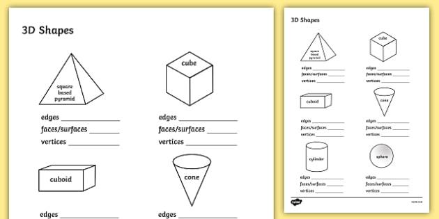 FREE! - 3D Shape Properties Worksheets - 3D, shapes, shape properties
