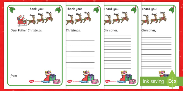 Thank You Letter to Father Christmas Writing Template - thank you