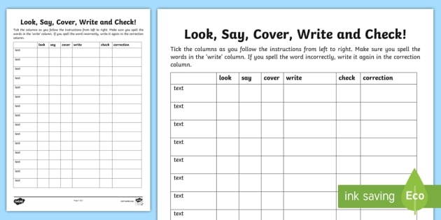 Look, Say Cover, Write and Check Blank Editable Template