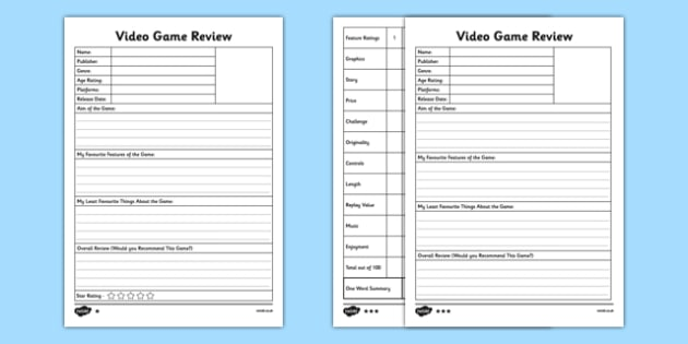 Video Game Review Templates Differentiated - console - video game template