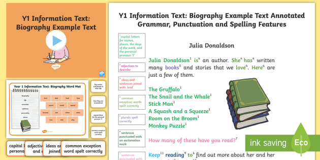 Y1 Information Texts Biography Model/Example Text - Example - biography example