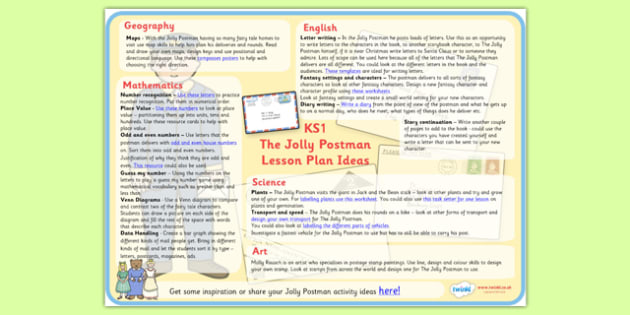 Lesson Plan Ideas KS1 to Support Teaching on The Jolly Postman - lesson plan