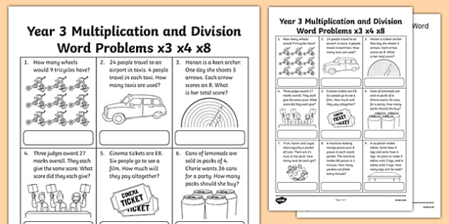 Year 3 Multiplication and Division Word Problems x3 x4 x8 - multiplication and division worksheet