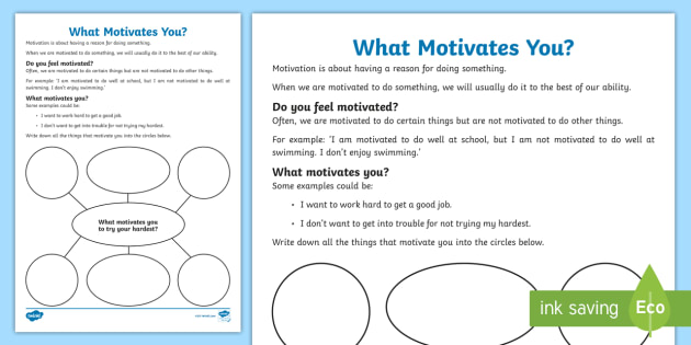 What Motivates You? Worksheet / Activity Sheet - young people - what motivates you
