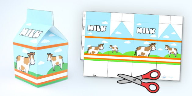 Milk Carton Net Template - carton, net, shape net, net template - Milk Carton Template