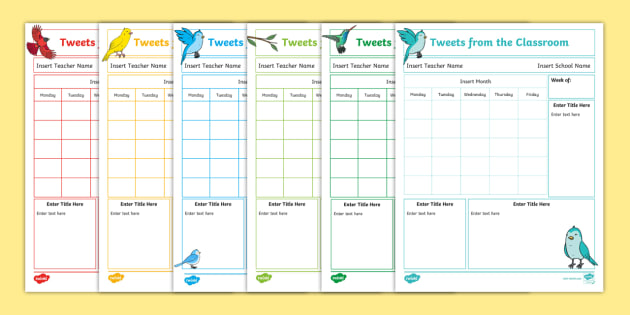 NEW * Editable Weekly Tweets From the Classroom Newsletters - news