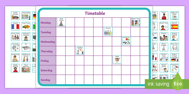 Editable Mini Additional Visual Timetable Cards - SEN, editable