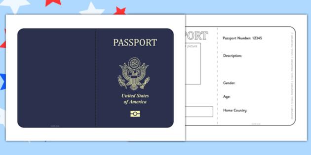 United States of America Passport Template - passport, template - passport template