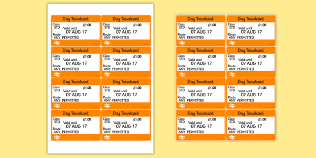 London Underground Role Play Tickets - roleplay, transport - play ticket template