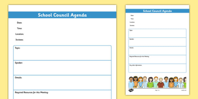 School Council Meeting Agenda Template - school council - meetings template